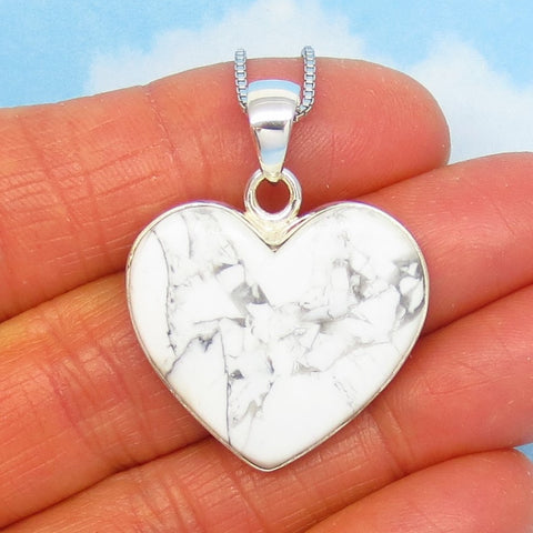 24 x 26mm Howlite White Turquoise Heart Necklace - 925 Sterling Silver - White Buffalo - Genuine Natural - Large Heart Pendant - 271292