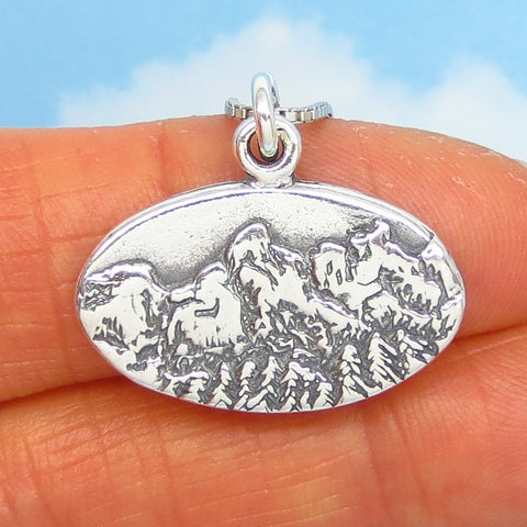 Grand Tetons Pendant Necklace - Sterling Silver - Mountains Forest Woodland Western Pine Tree Nature Hiker Gift - p230878