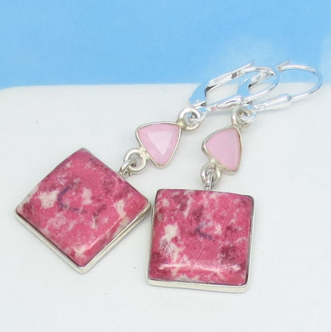 Pink Thulite Earrings - 925 Sterling Silver Leverback Dangle - Square - Rose Quartz Accent - Natural Genuine Norway Pink Zoisite - 261593