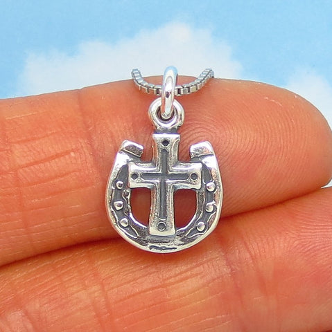 Tiny Sterling Silver Cross & Horseshoe Pendant Necklace - Horse - Cowboy - Western - Good Luck - Cowgirl - Barrel Racer - p230286