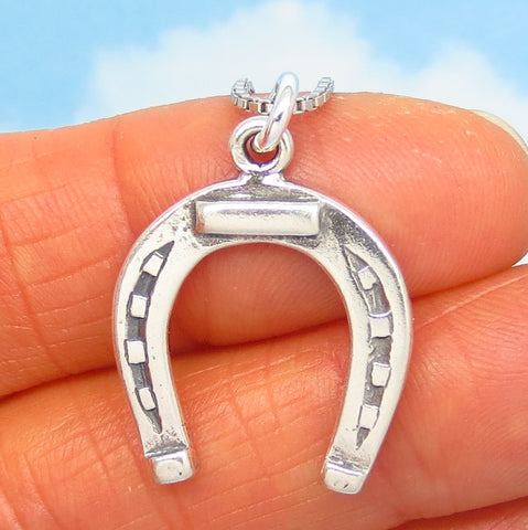 Sterling Silver Horseshoe Pendant Necklace - Horse - Cowgirl - Cowboy - Western - Good Luck - Barrel Racer - p230558