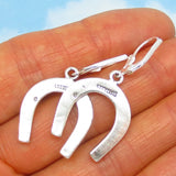 "1 1/2"" Long Horseshoe Earrings - Sterling Silver - Leverback Dangle - Large ish - Cowgirl - Barrel Racer - Cowboy - 231316"