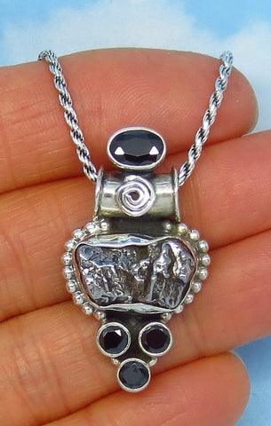 Meteorite Campo del Cielo & Natural Black Onyx Pendant Necklace - Sterling Silver - Large - Celestial - Boho Bali Design - jy161201