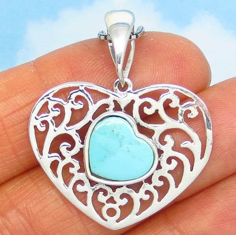 Natural Blue Kingman Turquoise Heart Pendant Necklace - Sterling Silver Filigree - Genuine Arizona USA Turquoise - sa191001