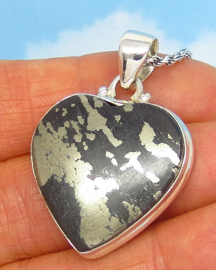 Golden Pyrite in Black Magnetite Heart Pendant Necklace - Sterling Silver - Large ish - Natural Genuine Arizona Healer's Gold - sa191299-24