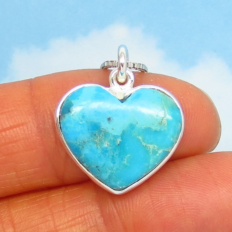 Small Natural Arizona Turquoise Heart Pendant Necklace - Sterling Silver - Dainty - Genuine USA Mojave Blue Turquoise - Minimalist su191152