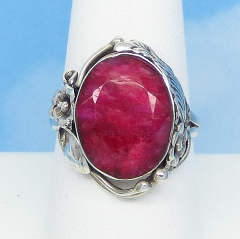 6.3ct Size 9 Natural Ruby Ring Solid 925 Sterling Silver India Raw Genuine Ruby Victorian Design Flower Leaf Feather Large Oval - rr0006-18