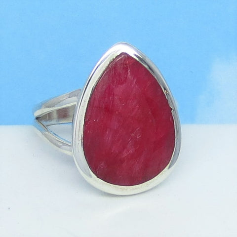 6.74ct Size 9-1/2 Natural Ruby Ring - Solid .925 Sterling Silver - India Raw Genuine Ruby - Simple - Pear - Large - Contemporary - rr0009-14