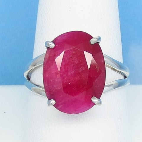 10.8ct Size 9-3/4 Natural Ruby Ring - Solid .925 Sterling Silver - India Raw Genuine Ruby - Simple - Oval - Large - Prong Set - rr0001-14
