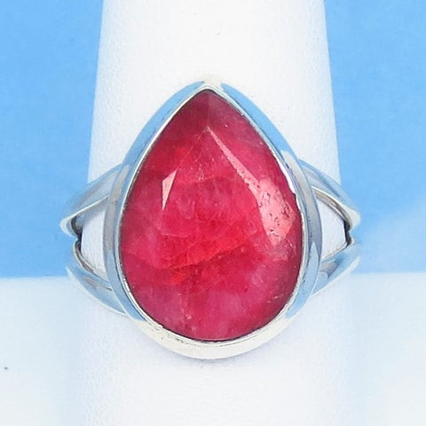 6.1ct Size 9 Natural Ruby Ring - Solid 925 Sterling Silver - India Raw Genuine Ruby - Pear - Large - Contemporary - rr0007-12