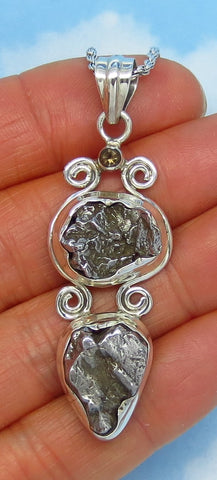 Large Meteorite Campo del Cielo Pendant Necklace - Sterling Silver - 11.3g Pendant - Goddess Shape - Oval - Pear - Celestial - jy161707-a21