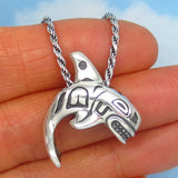 Alaskan Orca Whale Pendant Necklace - Sterling Silver - Inuit Native Design Sea Life - 925 Rope Chain - 8.0g Orca p251858