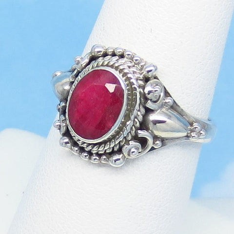 1.55ct - Size 7 Natural Ruby Ring - 925 Solid Sterling Silver - Victorian Filigree Gothic Bali Boho Design - 8 x 6mm Oval - Genuine India Raw Ruby - jy171103