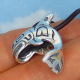 Alaskan Orca Whale Pendant Necklace - Sterling Silver - Inuit Native Design Sea Life - Genuine Leather - 8.0g Orca p251856