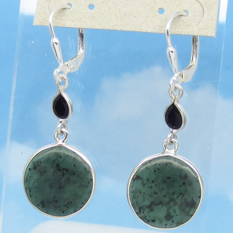 Nephrite Jade Earrings Leverback Dangle - 925 Sterling Silver - Genuine Natural Jade & Black Onyx - Dark Green - Round Disc - su161701