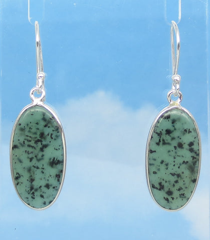 Nephrite Jade Earrings - Ear Wires or Leverback - Sterling Silver - Genuine Natural - Long Oval Dangle - Large ish - su161702