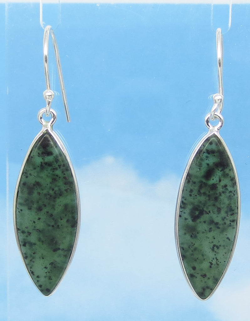 "1-7/8"" Nephrite Jade Earrings - Ear Wires or Leverback - Sterling Silver - Genuine Natural - Long Marquise Dangle - Large ish - su161703"