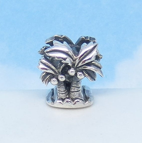 Coconut Palm Trees Tropical Island Hawaii Beach .925 Sterling Silver European Charm Bead - Fits Pandora Bracelets - Threaded - 271101