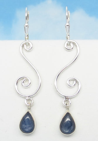 "2-1/8"" Natural Blue Kyanite Earrings 925 Sterling Silver Leverback Long Dangles Filigree Pear Shape Teardrop Chandelier su171633"