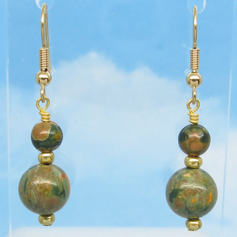 "1-3/4"" Natural Unakite Earrings Dangle Minimalist Hypoallergenic 18k Gold Plated Ear Wires Genuine Unakite Sage Green Boho Long Dangles"