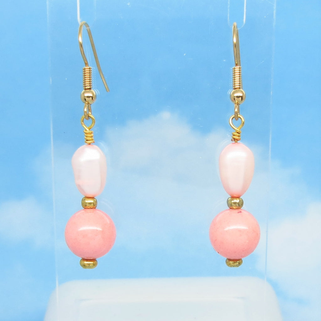 "1-7/8"" Long Natural Pink Pearl & Jade Earrings Dangle Hypoallergenic 18k Gold Plated Ear Wires Genuine Gemstones Dyed Peach Pink"