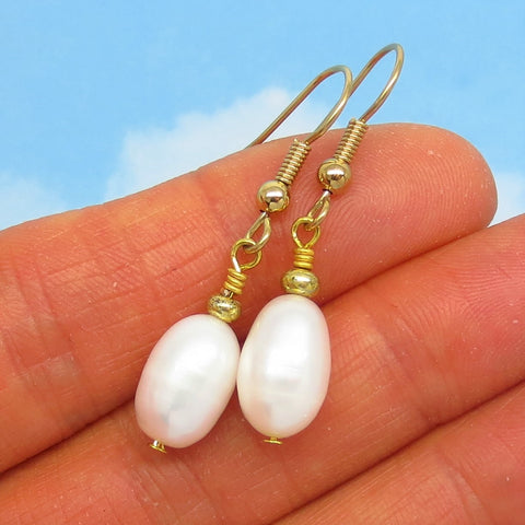 12 x 8mm Natural Freshwater Pearl Earrings Dangle Minimalist - Hypoallergenic 18k Gold Plated Ear Wires - White Pearls Genuine