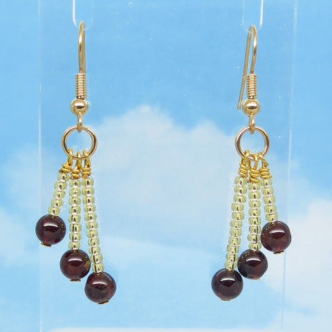 "1-15/16"" Natural Garnet & Crystal Earrings - Dangle - Hypoallergenic 18k Gold Plated Ear Wires - Boho Long Dangles - Chandelier"