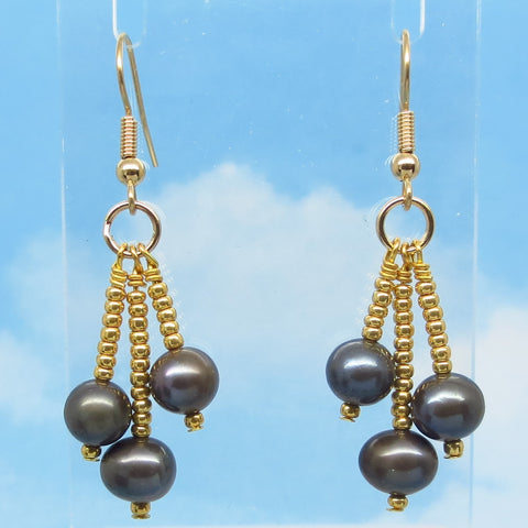 "2"" Natural Freshwater Pearl & Crystal Earrings - Hypoallergenic 18k Gold Plated Ear Wires - Boho Long Dangles - Chandelier - Gray Black"