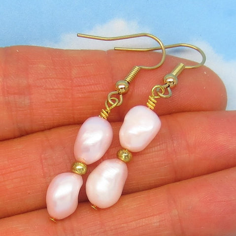 "1-3/4"" Very Pale Pink Natural Freshwater Pearl Earrings Dangle - Hypoallergenic 18k Gold Plated Ear Wires - Genuine Pearls - Long Boho"