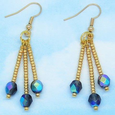"2-1/4"" Aurora Borealis Crystal Earrings - Hypoallergenic 18k Gold Plated Ear Wires - Boho Long Dangles Chandelier - Peacock Blue AB Crystal"