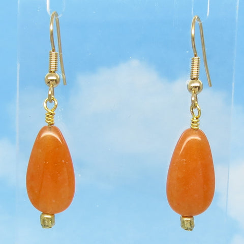 "1-3/4"" Long Natural Red Aventurine Earrings Dangle Hypoallergenic 18k Gold Plated Ear Wires Genuine Teardrop Pear Shape Burnt Orange"
