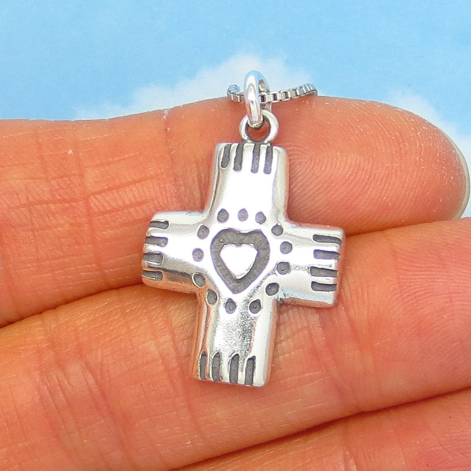 "925 Sterling Silver Heart Cross Pendant Necklace - Small Silver Cross - ""Puffy"" Pendant - Southwest Design - su240598"