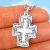925 Sterling Silver Thin Flat Southwest Cross Pendant Necklace - Stamped Southwest Design - Very Lightweight 1.4g Cross - su240288