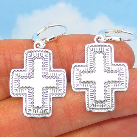 Very Thin & Flat Southwest Cross Earrings Sterling Silver Leverback Dangles - su240680