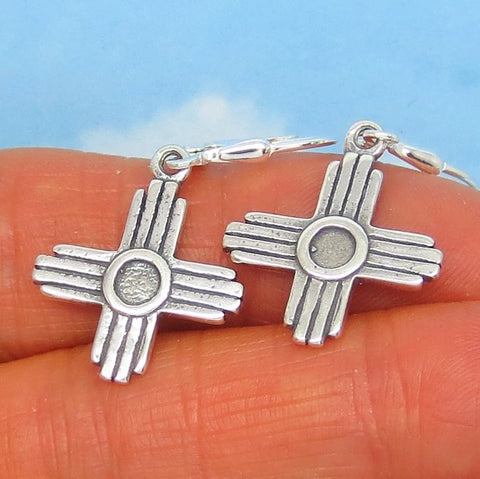 "1-3/8"" Sterling Silver Zia Cross Earrings - Leverback Dangle - Taos - Sun Symbol - Southwest - Simple - su240906"
