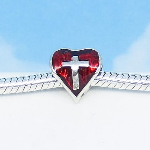925 Sterling Silver Heart Cross European Charm Bead Fits Pandora Bracelets Red Enamel 270505rch