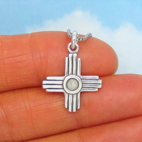 925 Sterling Silver Zia Cross Pendant Necklace - Southwest Taos Sun Symbol - Minimalist - su240402
