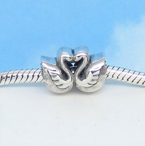 Swan European Charm Bead .925 Sterling Silver Fits Pandora Bracelets Euro 2 Swans Heart Bead Forever Love Mate for Life Bird swan190753