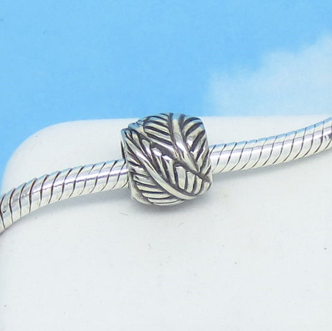 Leaf European Charm Bead .925 Sterling Silver Fits Pandora Bracelets Euro Banana Leaf Tropical Woodland Gardener Jungle Spacer Bead 190508LF