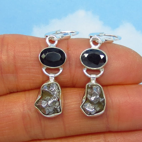5.7g Meteorite Campo del Cielo & Black Onyx Earrings - Sterling Silver Leverback Dangle - Celestial - Artisan - Natural Genuine - 161506