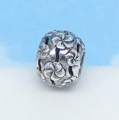 Plumeria Flower Tropical 925 Sterling Silver European Charm Bead - Slide - Fits Pandora Bracelets - Filigree Spacer Bead - Frangipani - 270708pl