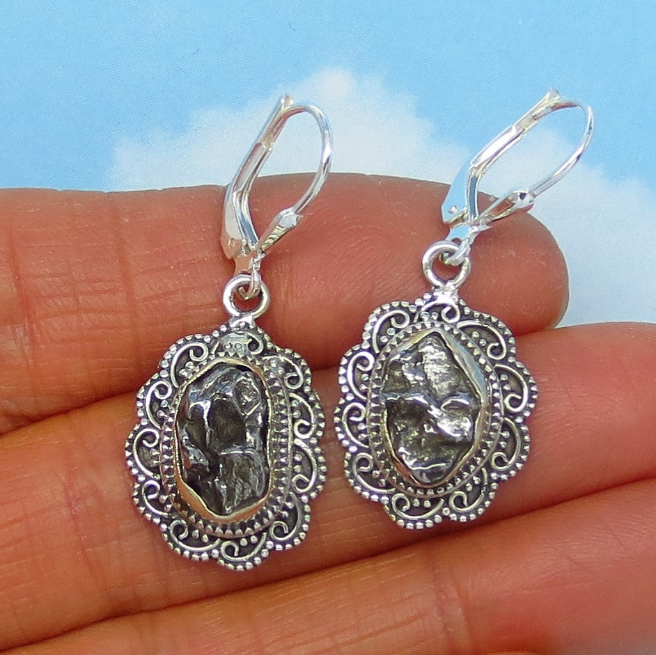 6.8g Meteorite Campo del Cielo Earrings - Sterling Silver Leverback Dangle - Celestial - Natural Genuine - Victorian Bali Filigree Boho