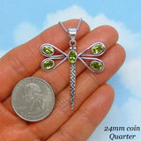 Natural Peridot Dragonfly Pendant Necklace - Sterling Silver - Large - Genuine Peridot - Woodland Pendant Necklace - su171453