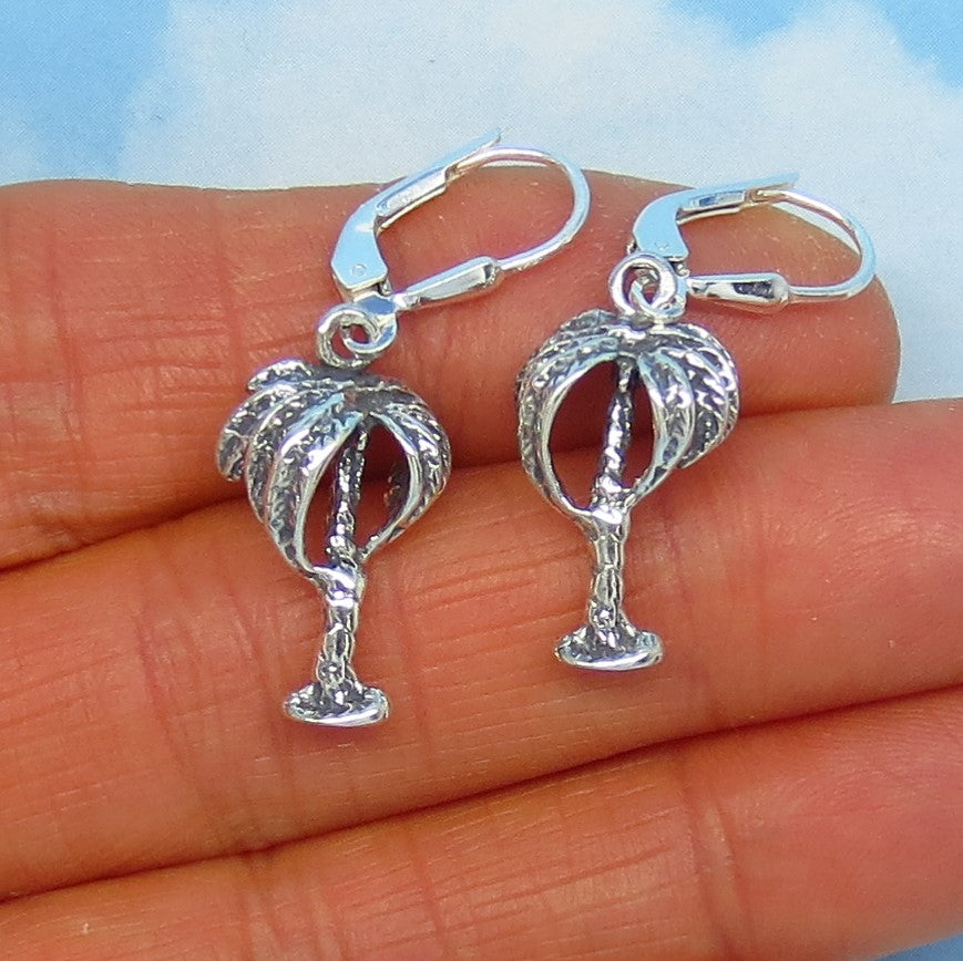 Sterling Silver Palm Tree Earrings - Leverback - Dangle - 3D - Dimensional - Beach Island Ocean - su170867