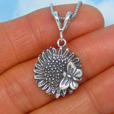 Sterling Silver Sunflower & Butterfly Pendant Necklace - Good Chain - 1.1mm Sterling Silver Box Chain - Flower Necklace - s170775
