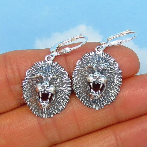 3D Lion Head Earrings - Sterling Silver - Leverback Dangle - Lion Face - Leo Earrings - Three Dimensional - su171390