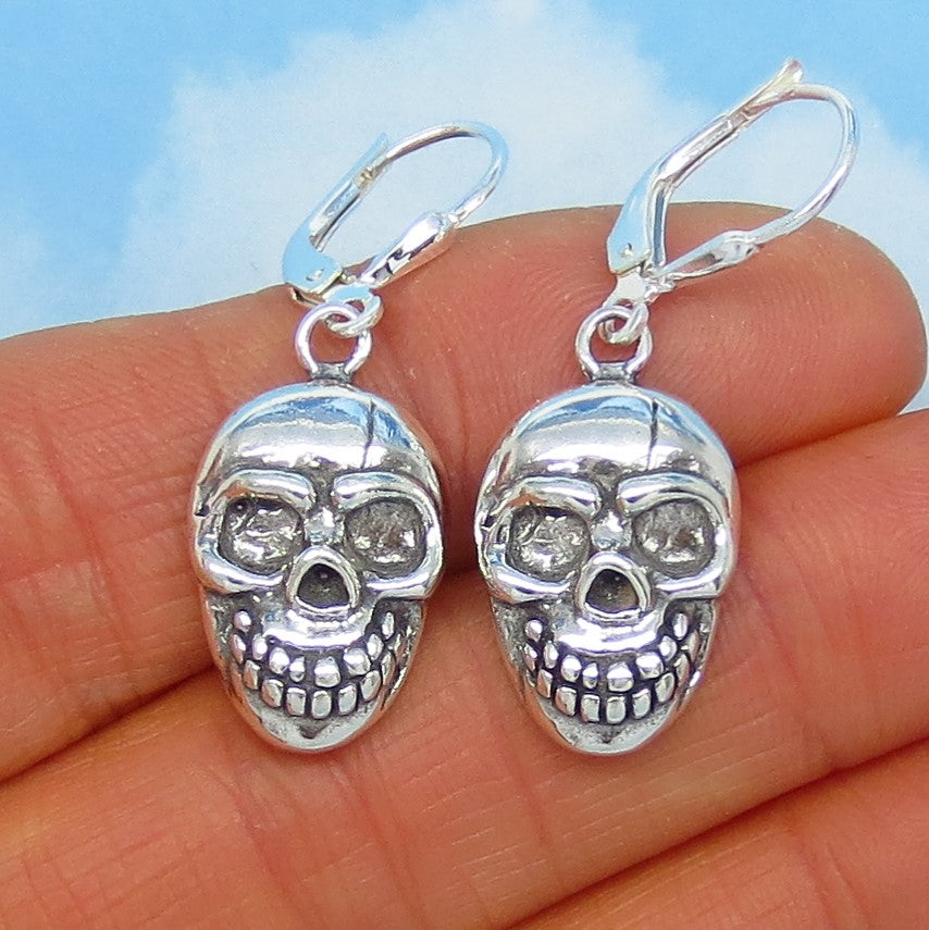 Sterling Silver Skull Earrings - Leverback Dangle - Dimensional - Halloween - Goth - su171386