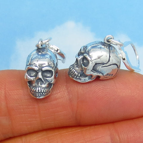 Sterling Silver 3D Skull Earrings - Leverback Dangle - 9.9g - Dimensional - Halloween - Goth - Biker Earrings - su201758