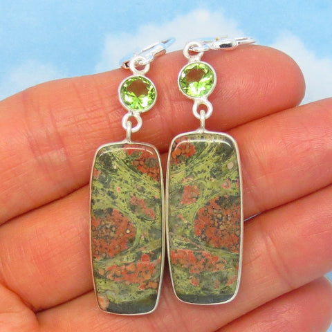 "2-5/16"" Natural Unakite & Color Change Zandrite Earrings - 925 Sterling Silver - Leverback - Rectangle - Cushion - su272801"