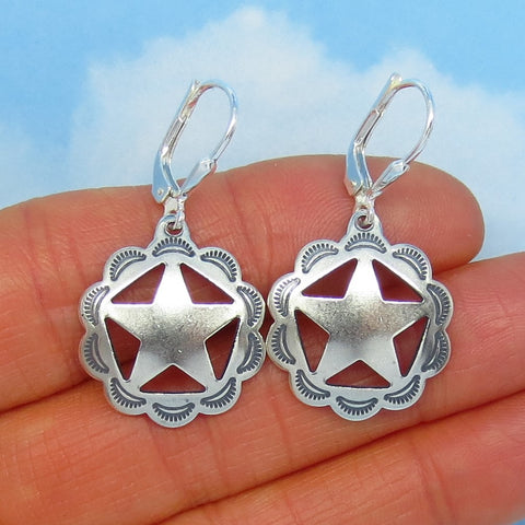 Sterling Silver Sheriff Star Earrings - Star of Texas - Western - Concho - Leverback - Dangle - Cowgirl - Cowboy - Barrel Racer - 170941